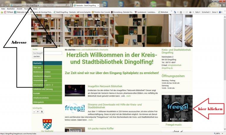 Erklärungsabbildung Homepage Kreis- und Stadtbibliothek